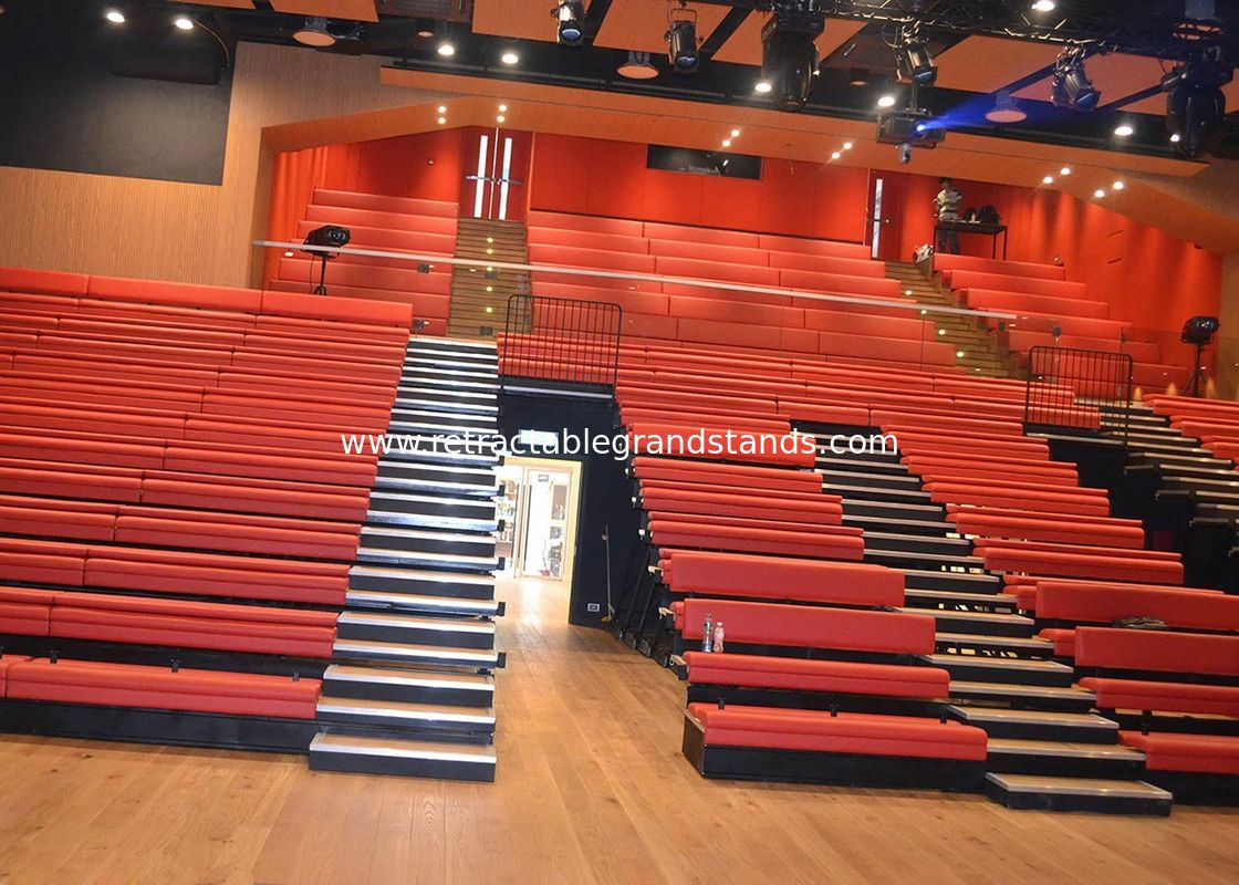 Customized Platform Retractable Grandstands Spectator Bench Leather / Fabric Upholstery